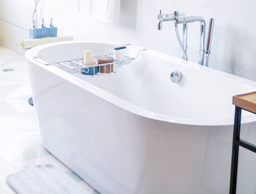 Contemporary white soak bathtub.