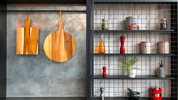 Industrial design kitchen storage.