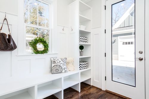 Contemporarily designed mud room.