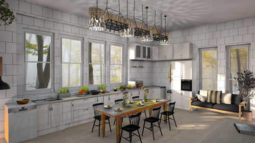 Modern kitchen with New York style backsplash.